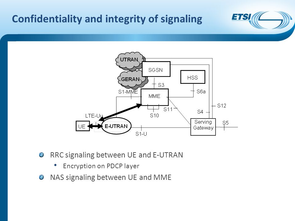 Confidentiality and integrity of signaling RRC signaling between UE and E-UTRAN Encryption on PDCP layer NAS signaling between UE and MME
