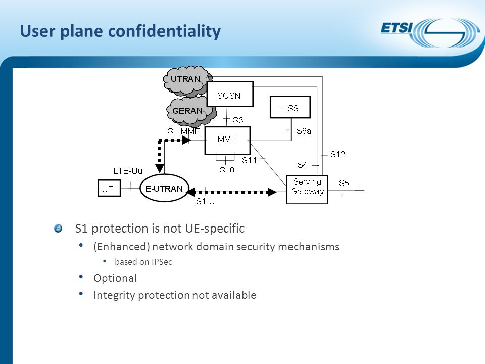 User plane confidentiality S1 protection is not UE-specific (Enhanced) network domain security mechanisms based on IPSec Optional Integrity protection