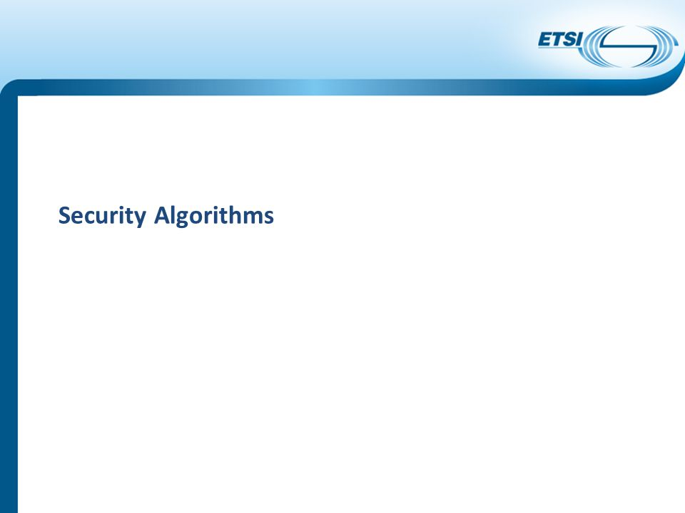 Security Algorithms