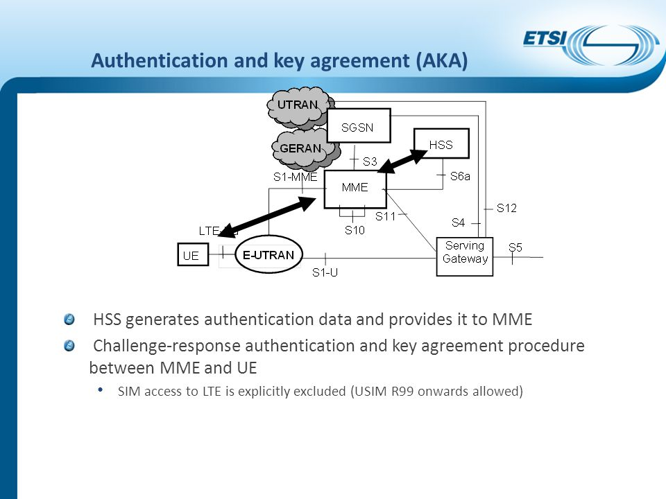 Authentication and key agreement (AKA) HSS generates authentication data and provides it to MME Challenge-response authentication and key agreement pr