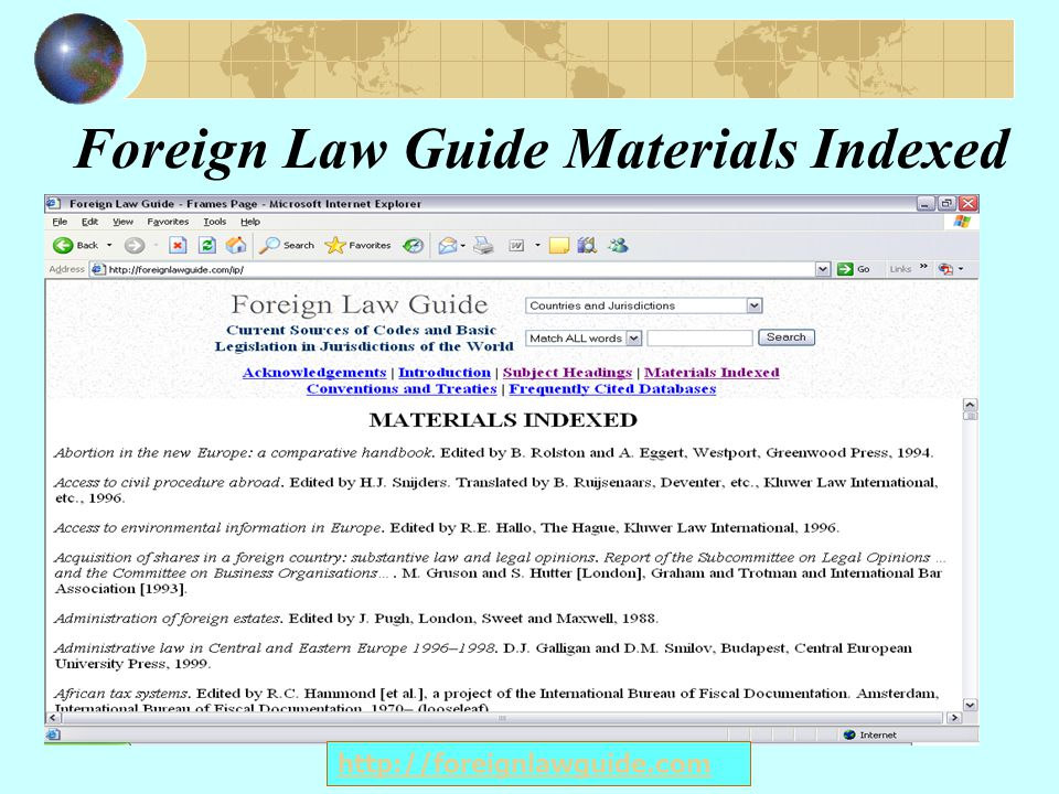 Foreign Law Guide Materials Indexed http://foreignlawguide.com