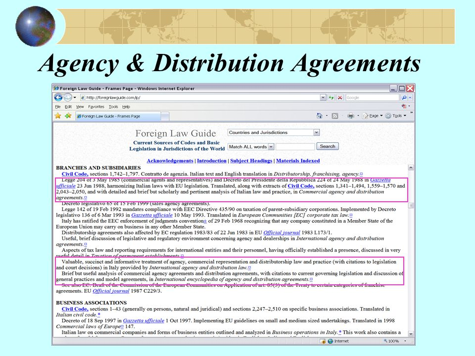 Agency & Distribution Agreements