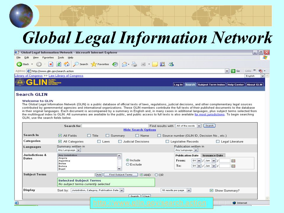 Global Legal Information Network http://www.glin.gov/search.action