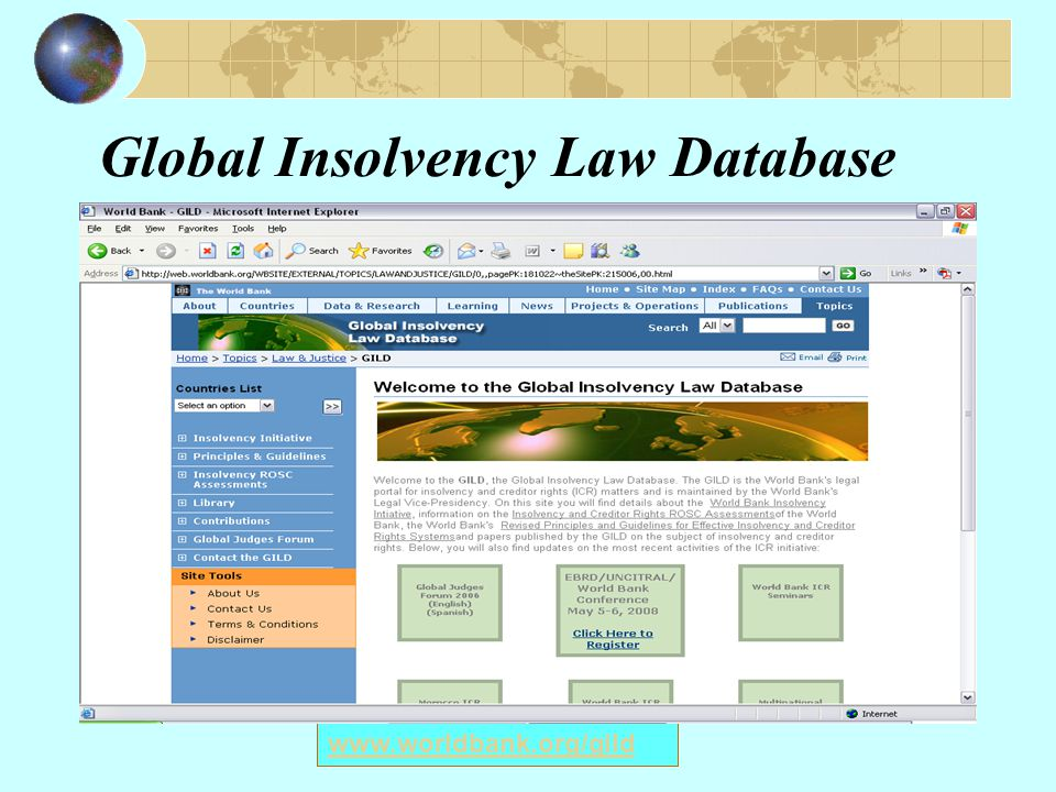 Global Insolvency Law Database www.worldbank.org/gild