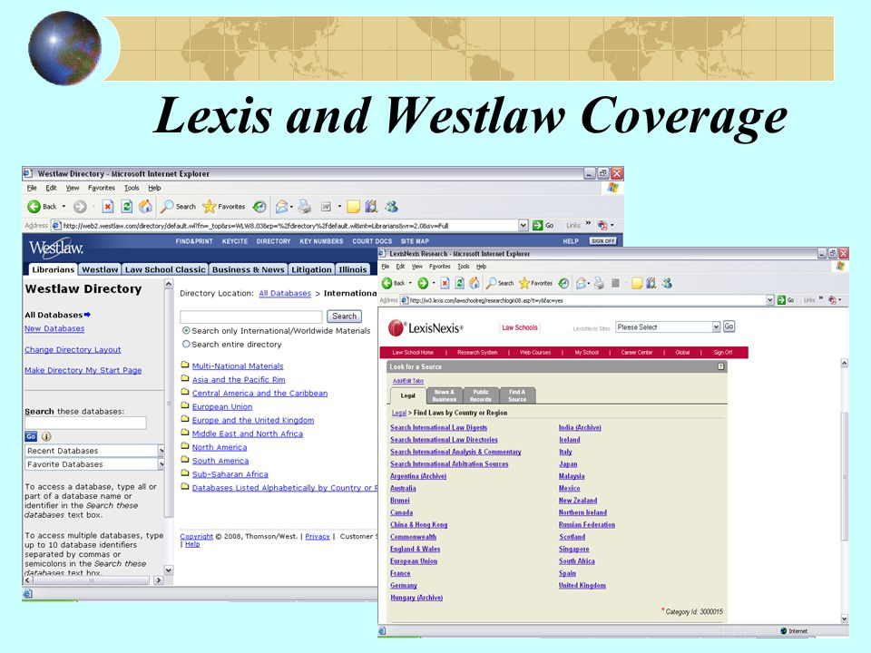 Lexis and Westlaw Coverage