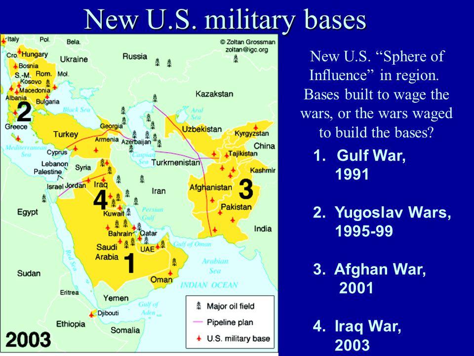 New U.S. military bases 1.Gulf War, 1991 2. Yugoslav Wars, 1995-99 3.