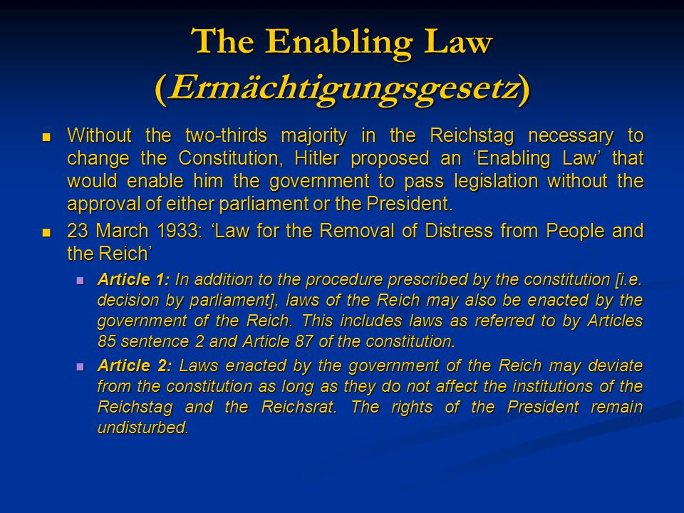 Gleichschaltung After the passage of the Enabling Law the Nazis acted to 'co- ordinate' as many areas of German life as possible and bring them into line with Nazi ideology.