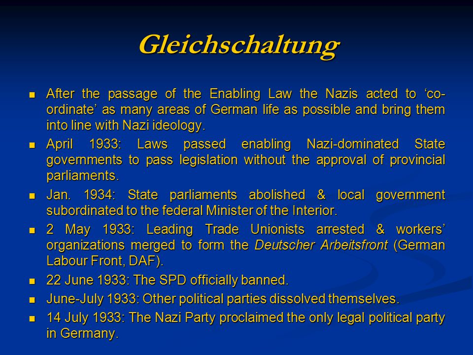 The Debate on the Functioning of the Third Reich Intentionalist InterpretationFunctionalist Interpretation 1.Hitler s role Strong dictator; can implement his will Weak dictator; depends on competing organizations 2.Structure of the state Obedience to the dictator Four competing and relatively independent power blocks: economy, army, Nazi party/SS, state administration 3.Implementation of policies Hitler s will Long-term planning Realization of long-term goals Primacy of ideology Spontaneous initiatives of organizations, improvisation, primacy of opportunism 4.Critique Too personalistic, too much centred on Hitler, too rational, too apologetic of Germans in general Ignores deliberate policies and the popularity of Hitler, overestimates independence of single organizations and apparatuses, too much focused on anonymous structures