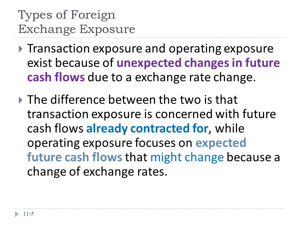 Types of Foreign Exchange Exposure 11-5  Transaction exposure and operating exposure exist because of unexpected changes in future cash flows due to a exchange rate change.