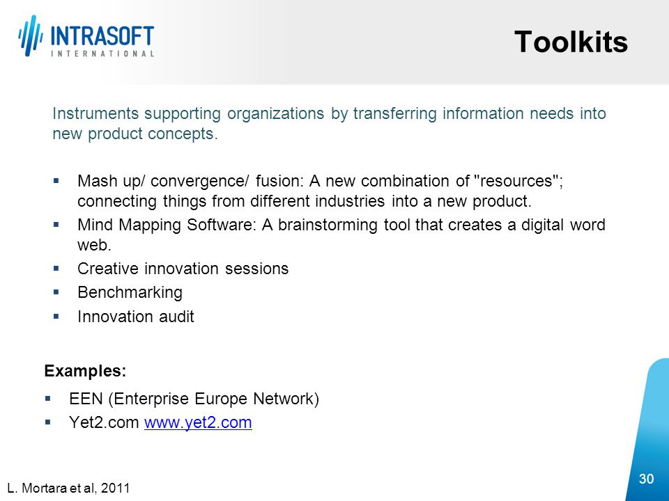 Toolkits Instruments supporting organizations by transferring information needs into new product concepts.  Mash up/ convergence/ fusion: A new combi