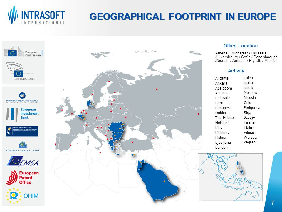 8 Executing over 100 Projects in more than 68 countries GLOBAL PRESENCE Activity