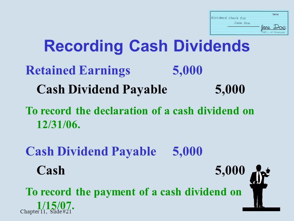 Chapter 11, Slide #21 Recording Cash Dividends Retained Earnings5,000 Cash Dividend Payable 5,000 To record the declaration of a cash dividend on 12/3