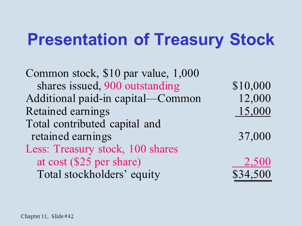 Chapter 11, Slide #42 Presentation of Treasury Stock Common stock, $10 par value, 1,000 shares issued, 900 outstanding $10,000 Additional paid-in capi