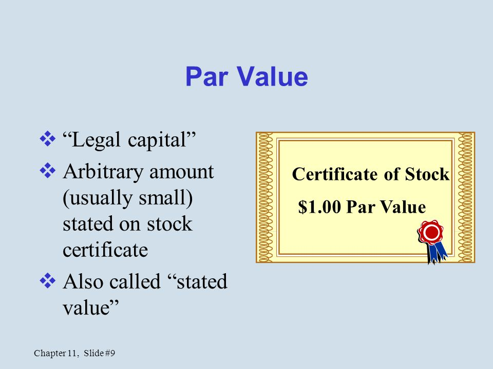 Chapter 11, Slide #10 Additional Paid-in Capital  Amount received in excess of par when stock was issued Certificate of Stock $1.00 Par Value 15