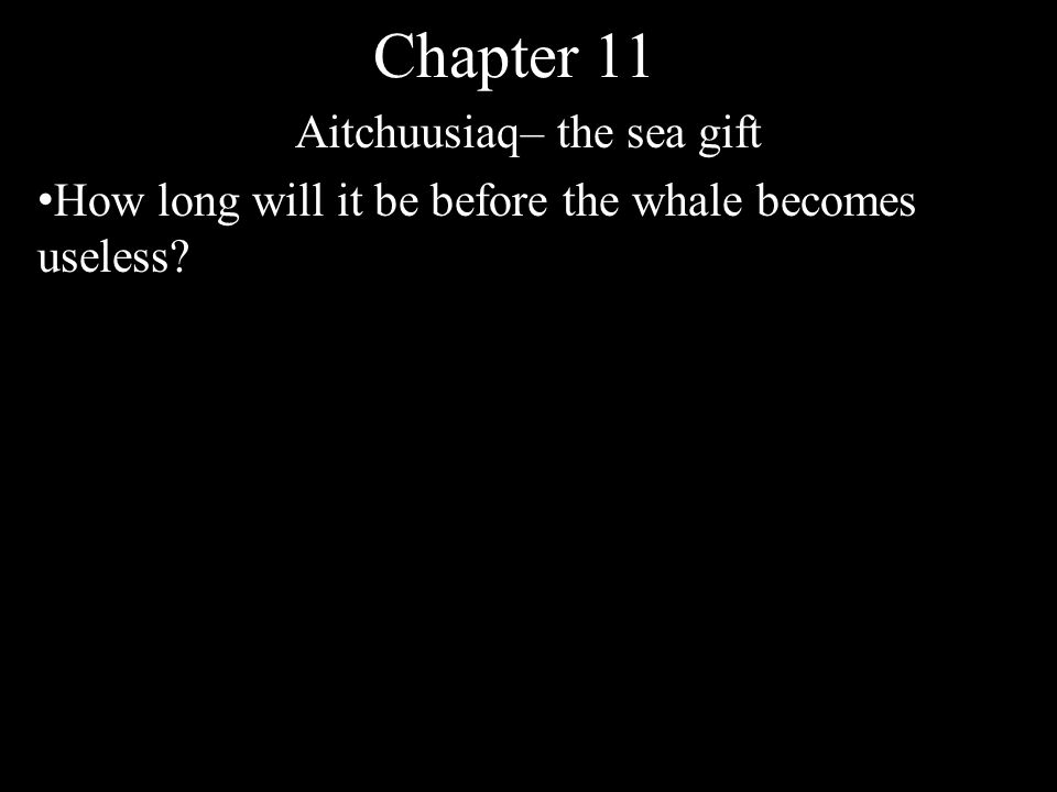 Chapter 11 Aitchuusiaq– the sea gift How long will it be before the wahle becomes useless? 24 hours