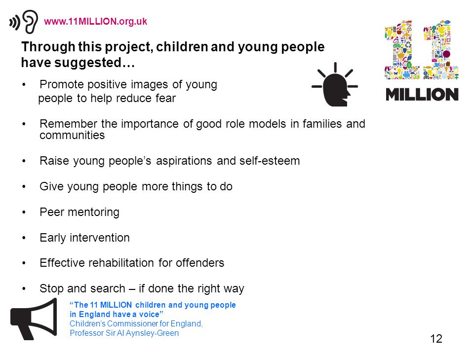12 The 11 MILLION children and young people in England have a voice Children's Commissioner for England, Professor Sir Al Aynsley-Green www.11MILLION.org.uk Through this project, children and young people have suggested… Promote positive images of young people to help reduce fear Remember the importance of good role models in families and communities Raise young people's aspirations and self-esteem Give young people more things to do Peer mentoring Early intervention Effective rehabilitation for offenders Stop and search – if done the right way