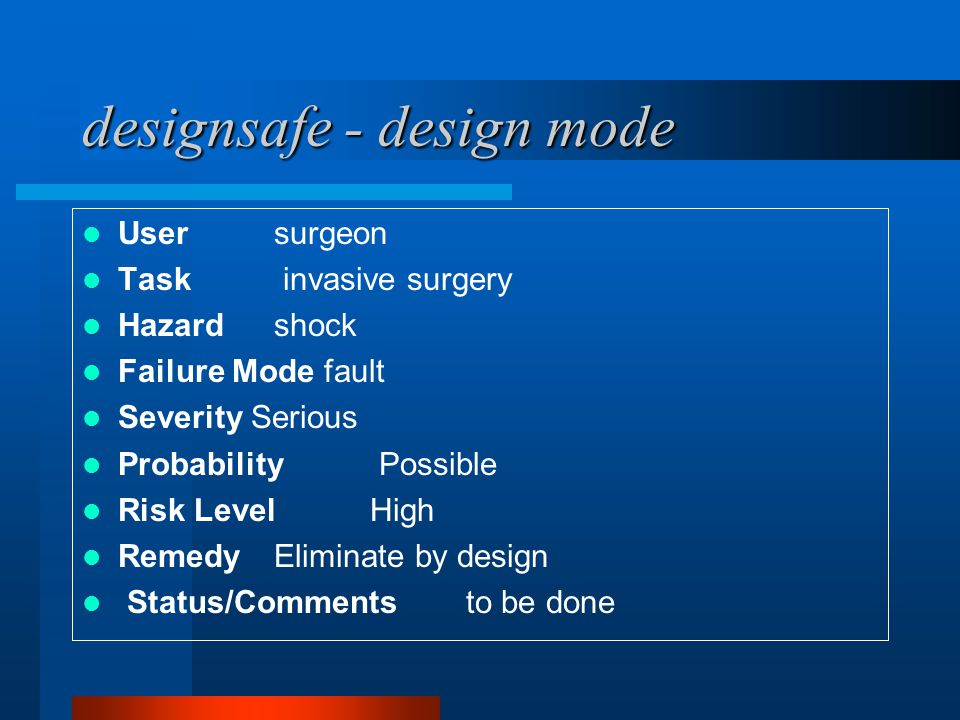designsafe - design mode Usersurgeon Task invasive surgery Hazardshock Failure Mode fault Severity Serious Probability Possible Risk LevelHigh RemedyE
