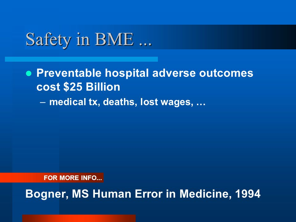 Safety in BME... Preventable hospital adverse outcomes cost $25 Billion –medical tx, deaths, lost wages, … Bogner, MS Human Error in Medicine, 1994 FO