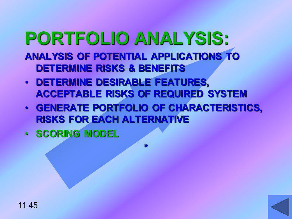 PORTFOLIO ANALYSIS: ANALYSIS OF POTENTIAL APPLICATIONS TO DETERMINE RISKS & BENEFITS DETERMINE DESIRABLE FEATURES, ACCEPTABLE RISKS OF REQUIRED SYSTEM