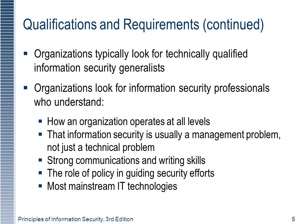 Principles of Information Security, 3rd Edition5 Qualifications and Requirements (continued)  Organizations typically look for technically qualified