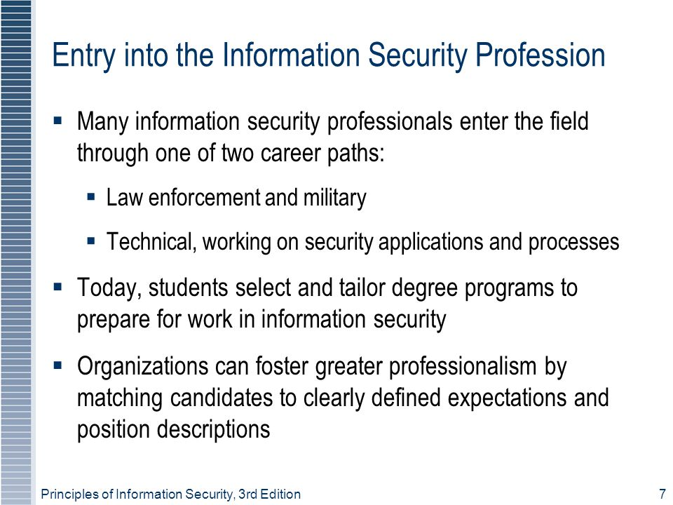 Principles of Information Security, 3rd Edition18 New Hire Orientation  New employees should receive extensive information security briefing on policies, procedures, and requirements for information security  Levels of authorized access are outlined; training provided on secure use of information systems  By the time employees start, they should be thoroughly briefed and ready to perform duties securely