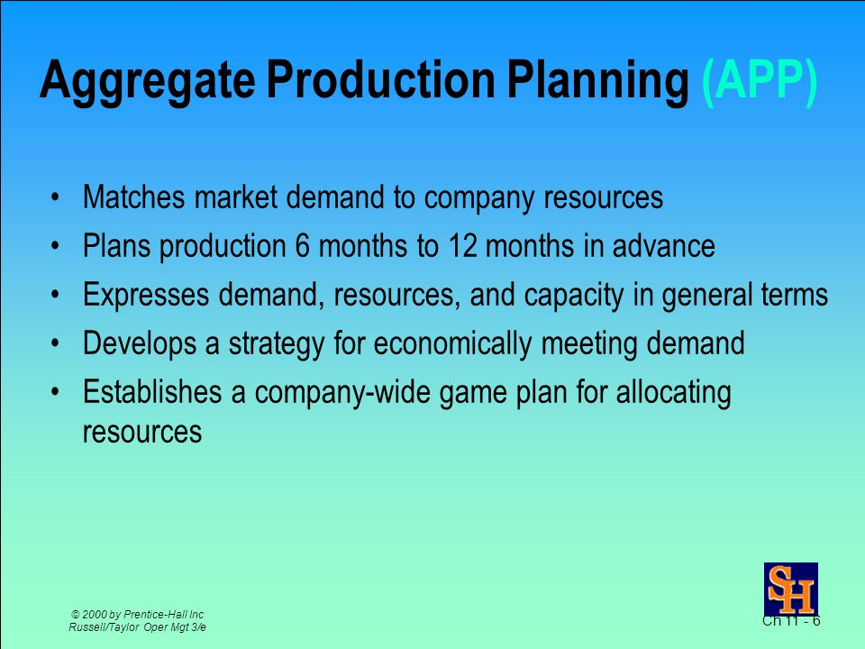 Ch 11 - 6 © 2000 by Prentice-Hall Inc Russell/Taylor Oper Mgt 3/e Aggregate Production Planning (APP) Matches market demand to company resources Plans production 6 months to 12 months in advance Expresses demand, resources, and capacity in general terms Develops a strategy for economically meeting demand Establishes a company-wide game plan for allocating resources