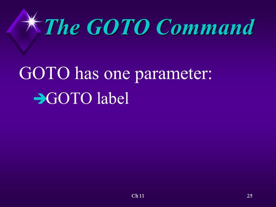 Ch 1125 The GOTO Command GOTO has one parameter: è GOTO label