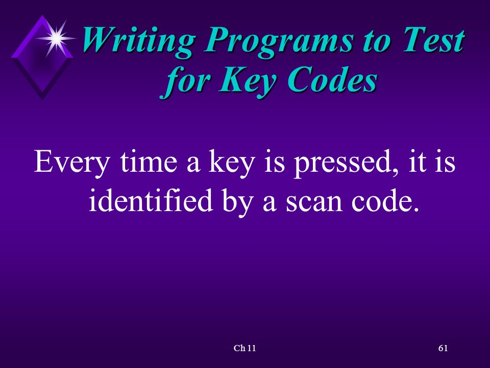 Ch 1161 Writing Programs to Test for Key Codes Every time a key is pressed, it is identified by a scan code.