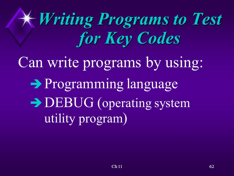 Ch 1162 Writing Programs to Test for Key Codes Can write programs by using: è Programming language è DEBUG ( operating system utility program )