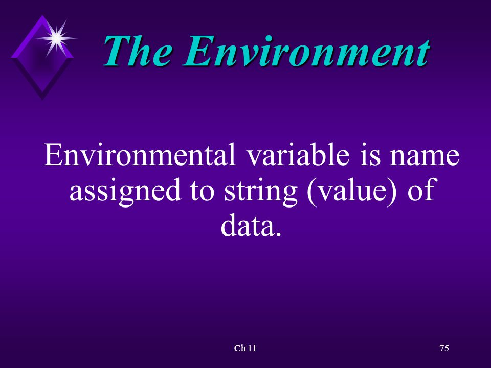 Ch 1175 The Environment Environmental variable is name assigned to string (value) of data.