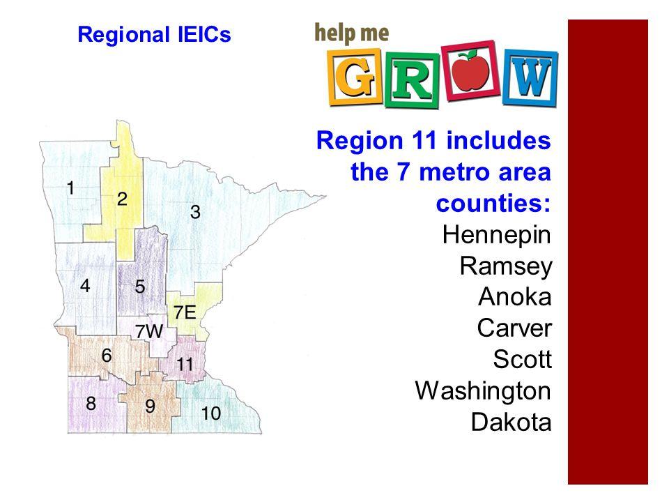 Regional IEICs Region 11 includes the 7 metro area counties: Hennepin Ramsey Anoka Carver Scott Washington Dakota