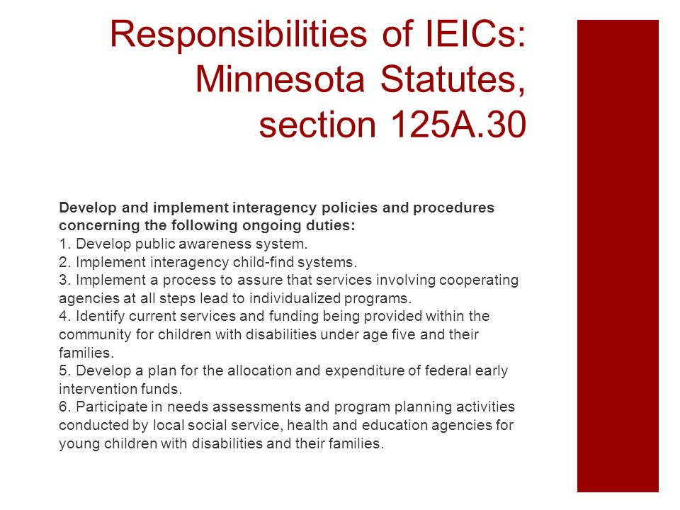 Responsibilities of IEICs: Minnesota Statutes, section 125A.30 Develop and implement interagency policies and procedures concerning the following ongo