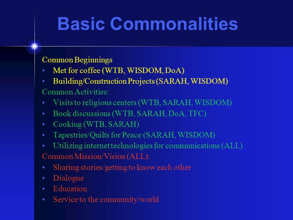 Basic Commonalities Common Beginnings Met for coffee (WTB, WISDOM, DoA) Building/Construction Projects (SARAH, WISDOM) Common Activities: Visits to re