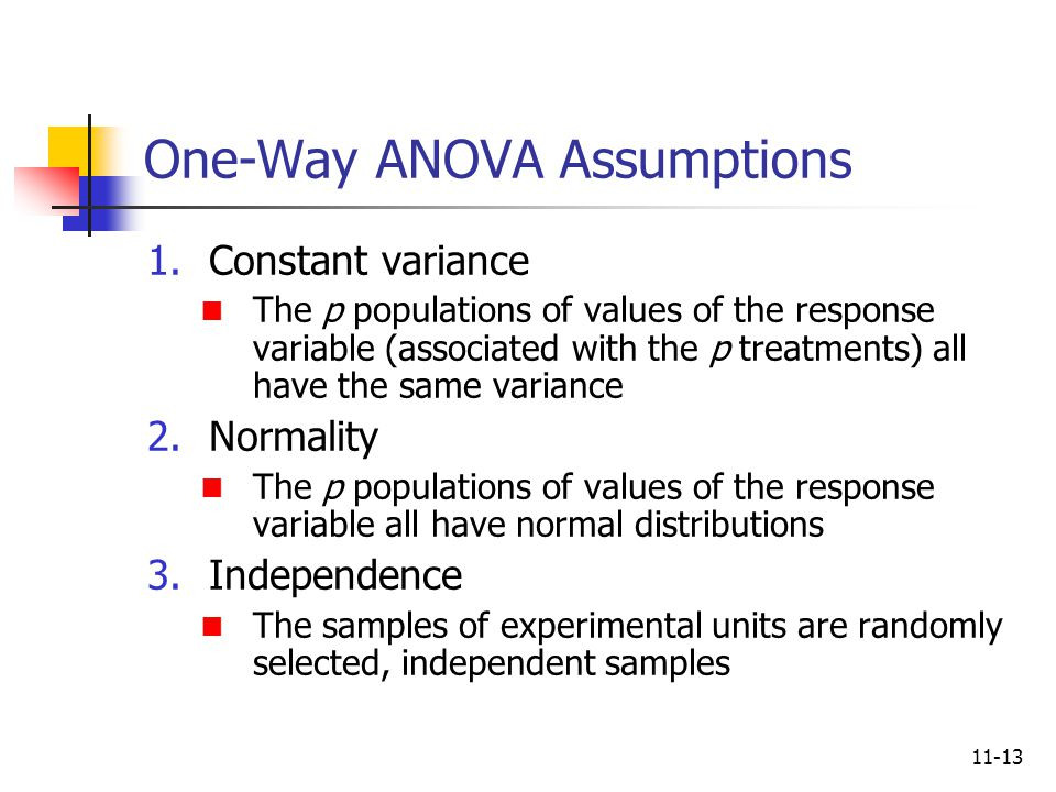 11-13 One-Way ANOVA Assumptions 1.Constant variance The p populations of values of the response variable (associated with the p treatments) all have t