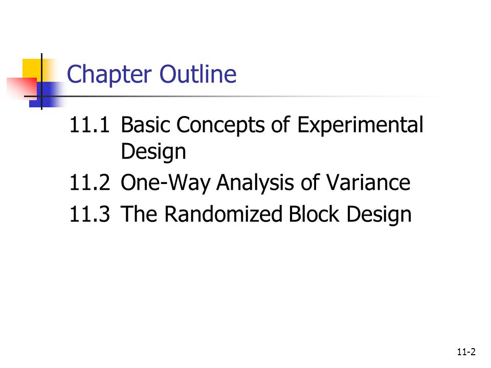 11-2 Chapter Outline 11.1Basic Concepts of Experimental Design 11.2One-Way Analysis of Variance 11.3The Randomized Block Design