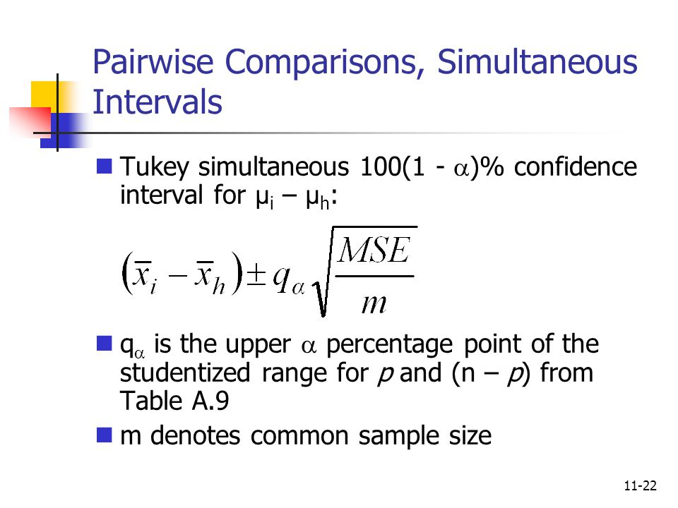 11-22 Pairwise Comparisons, Simultaneous Intervals Tukey simultaneous 100(1 -  )% confidence interval for µ i – µ h : q  is the upper  percentage p