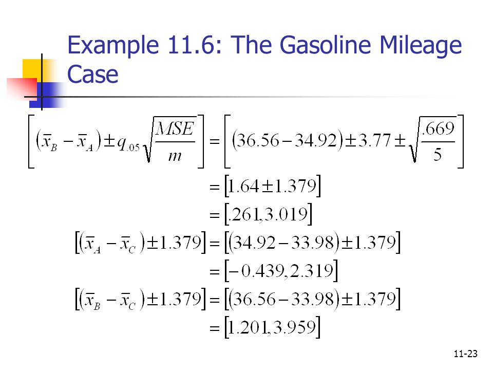 11-23 Example 11.6: The Gasoline Mileage Case
