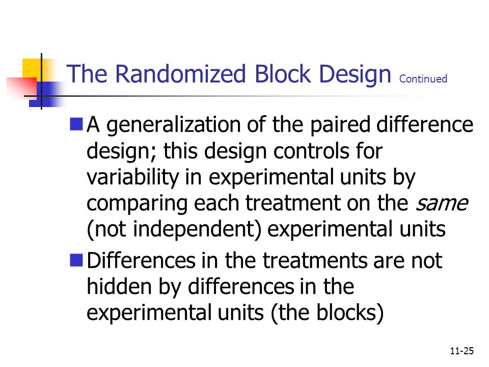 11-25 The Randomized Block Design Continued A generalization of the paired difference design; this design controls for variability in experimental uni