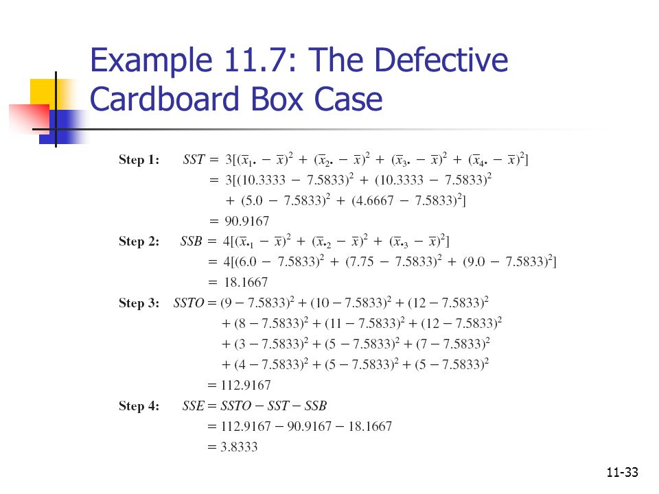 11-33 Example 11.7: The Defective Cardboard Box Case