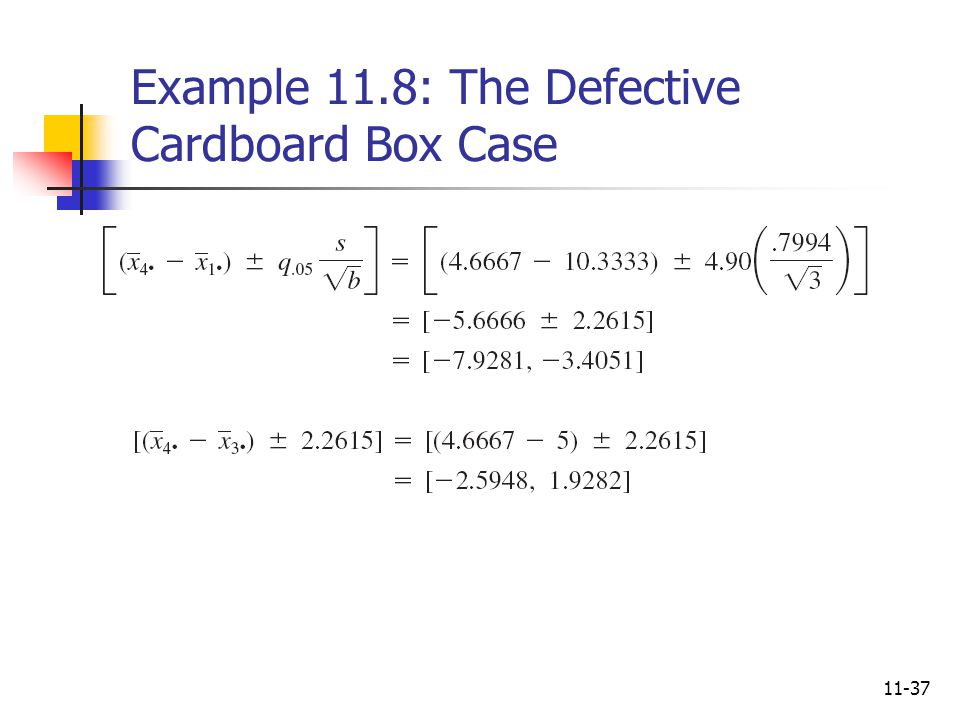 11-37 Example 11.8: The Defective Cardboard Box Case