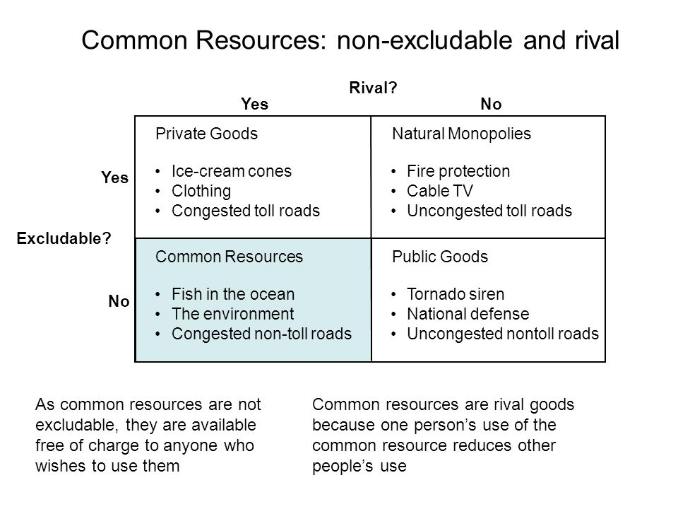Common Resources: non-excludable and rival Rival.