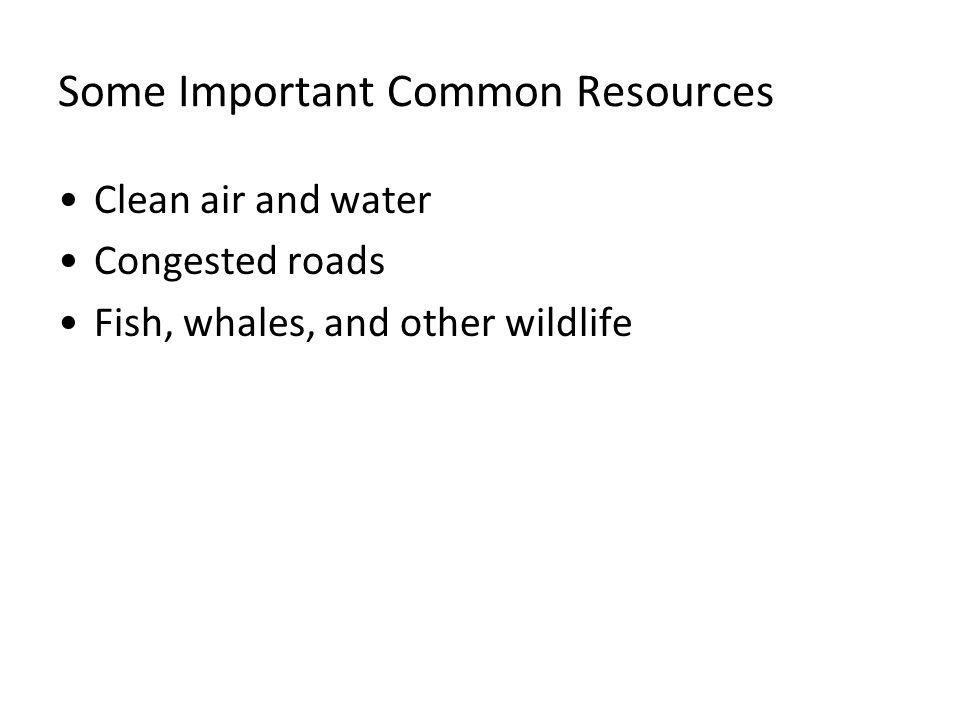 Some Important Common Resources Clean air and water Congested roads Fish, whales, and other wildlife