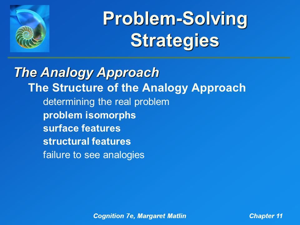 Cognition 7e, Margaret MatlinChapter 11 Problem-Solving Strategies The Analogy Approach The Structure of the Analogy Approach determining the real pro