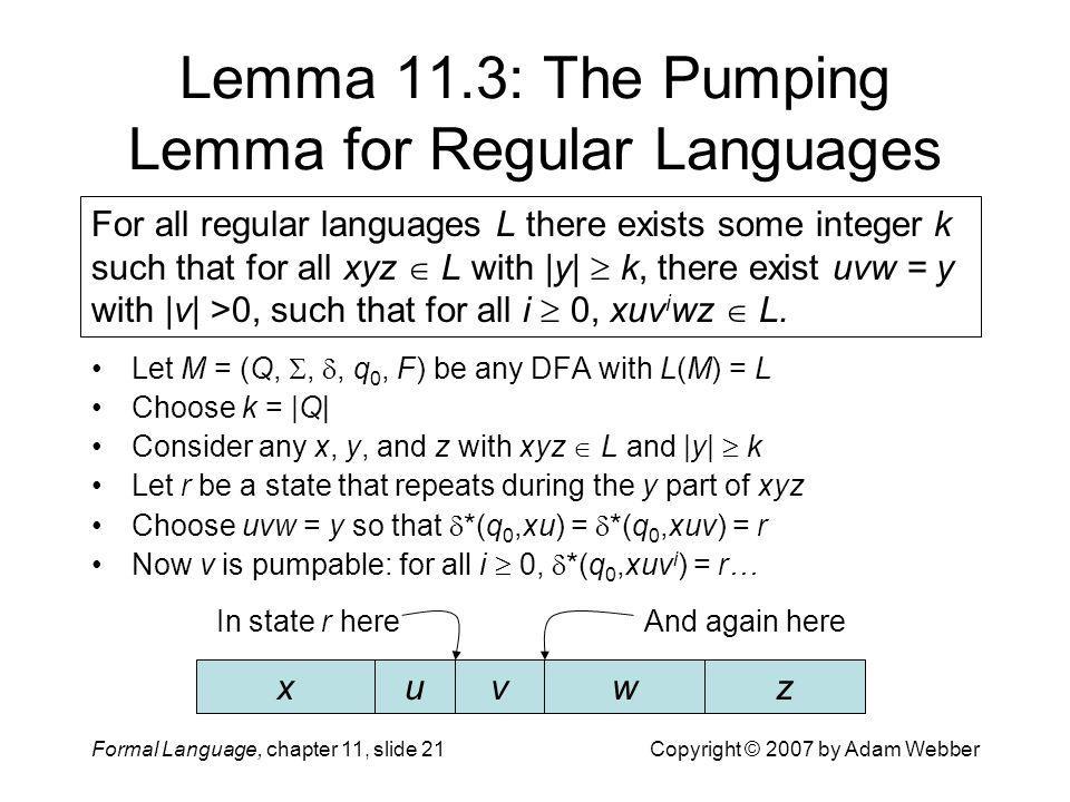 Formal Language, chapter 11, slide 21Copyright © 2007 by Adam Webber Lemma 11.3: The Pumping Lemma for Regular Languages Let M = (Q, , , q 0, F) be
