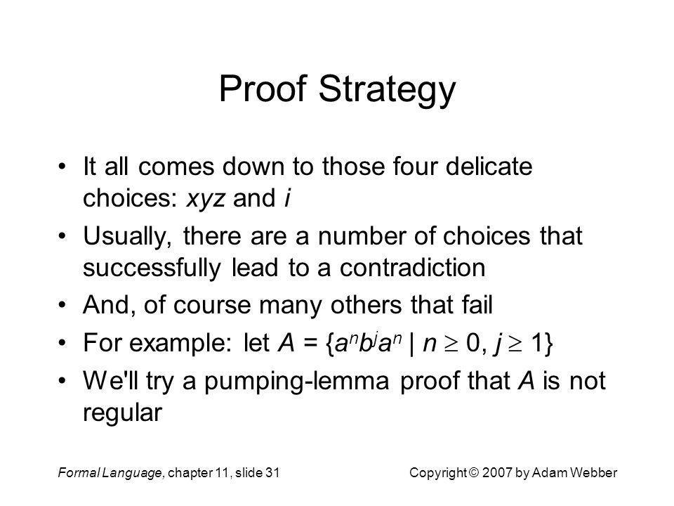 Formal Language, chapter 11, slide 31Copyright © 2007 by Adam Webber Proof Strategy It all comes down to those four delicate choices: xyz and i Usuall