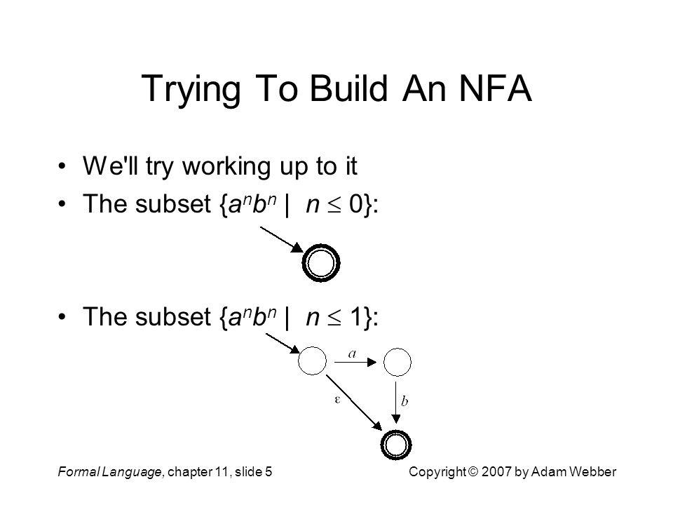Formal Language, chapter 11, slide 5Copyright © 2007 by Adam Webber Trying To Build An NFA We'll try working up to it The subset {a n b n | n  0}: Th