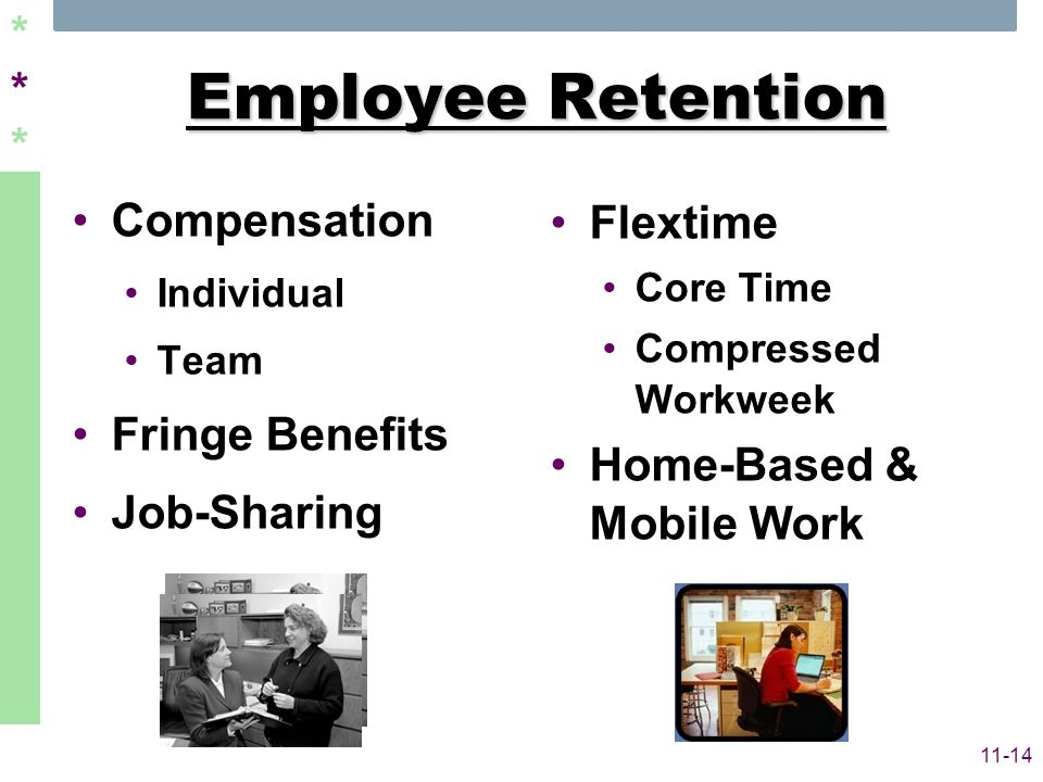 ****** 11-14 Employee Retention Compensation Individual Team Fringe Benefits Job-Sharing Flextime Core Time Compressed Workweek Home-Based & Mobile Wo