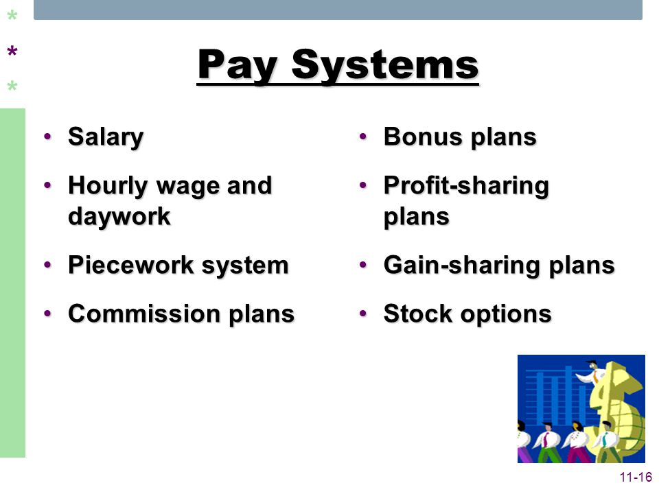 ****** 11-16 Pay Systems SalarySalary Hourly wage and dayworkHourly wage and daywork Piecework systemPiecework system Commission plansCommission plans