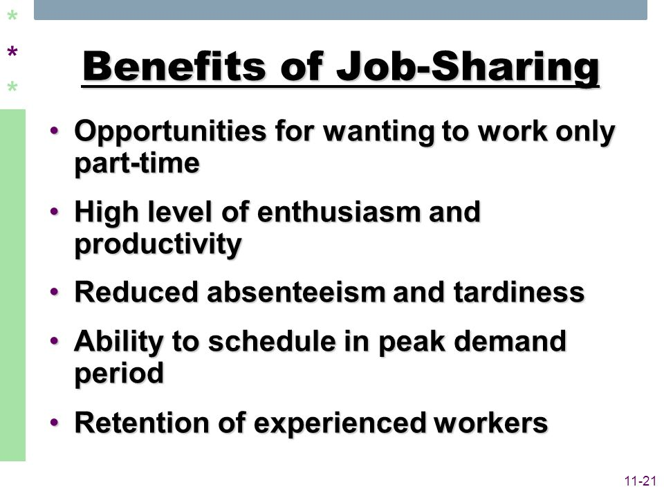 ****** 11-21 Benefits of Job-Sharing Opportunities for wanting to work only part-timeOpportunities for wanting to work only part-time High level of en