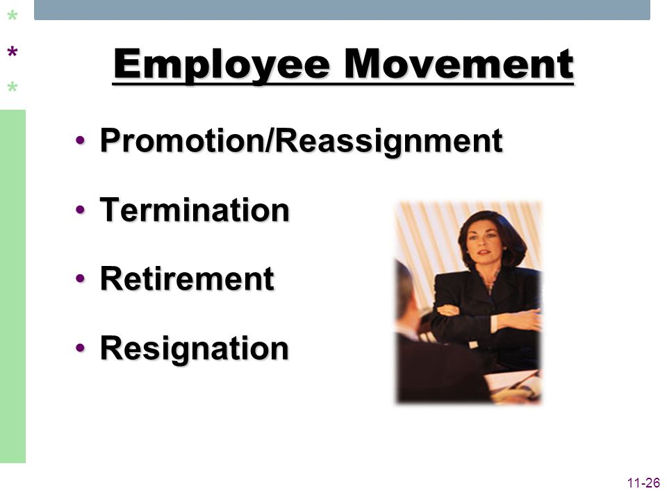 ****** 11-26 Employee Movement Promotion/ReassignmentPromotion/Reassignment TerminationTermination RetirementRetirement ResignationResignation